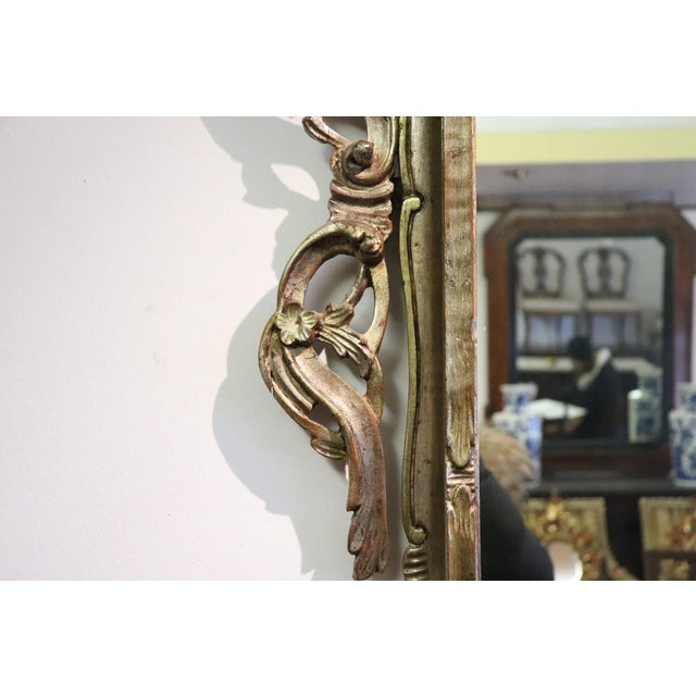 Glass 20th Century Italian Louis XV Style Silvered Wood Antique Wall Mirror For Sale - Image 7 of 11