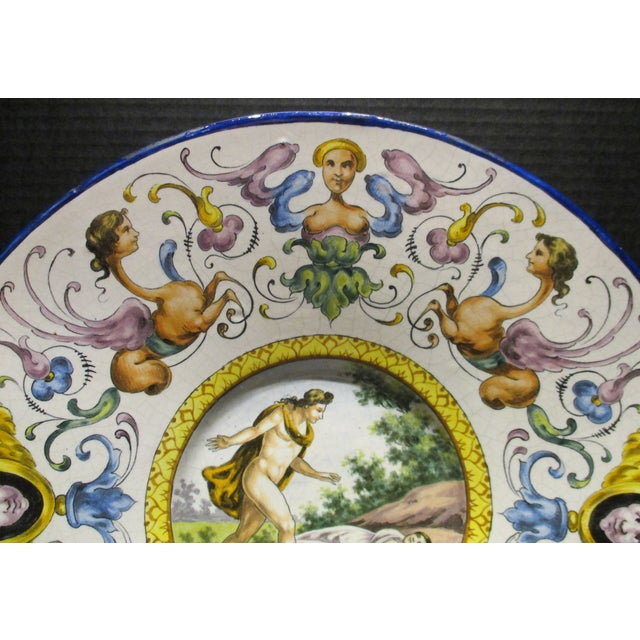 Italian Late 19th Century Italian Majolica Hand Painted Semi Nudes Impressed Ad Charger For Sale - Image 3 of 13