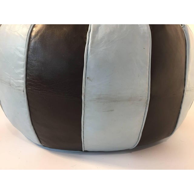 Moroccan Round Leather Pouf Hand-Tooled in Marrakesh For Sale In Los Angeles - Image 6 of 10