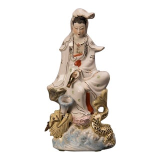 """""""Quan Yin"""" Porcelain Figure Depicted as the """"Protector of Seafarers"""" From Kuang Hsu Period China C.1875 For Sale"""