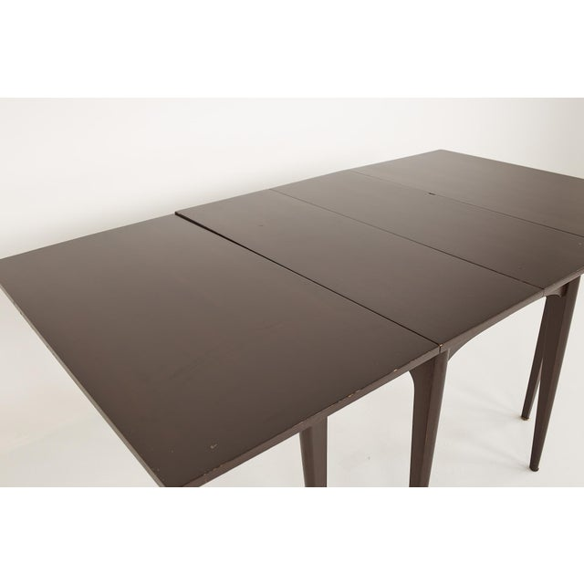 Brown Kroehler Refinished Mid Century Drop Leaf Dining Table For Sale - Image 8 of 12