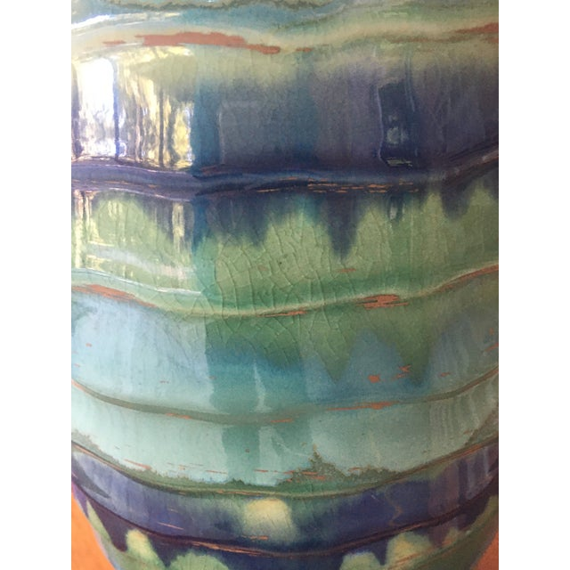 Ceramic Late 20th Century Contemporary Large Drip and Crackle Glazed Ribbed Vase For Sale - Image 7 of 11