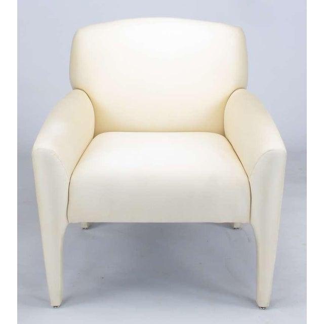 Pair Vladimir Kagan Lounge Chairs In Ivory Silk - Image 4 of 9