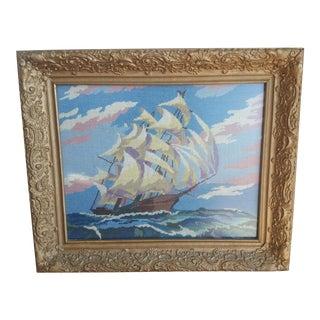 Mid Century Nautical Ship Boat Seascape Oceanic Needlepoint Framed