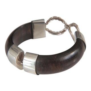 Sterling and Ebony Wood Bangle Bracelet For Sale