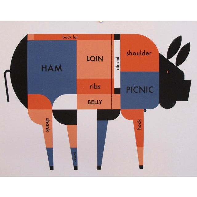 Contemporary Kitchen Poster, Piggie Meat Chart For Sale - Image 4 of 4