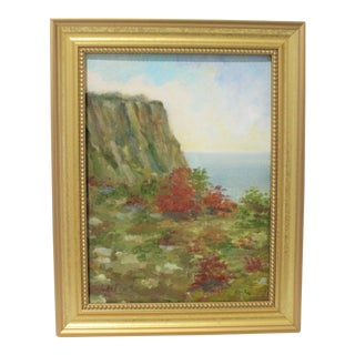 """Vintage Oil Painting """"Hudson River View From the Palisades"""" With Coa by Listed Artist John Elliot, Opa. For Sale"""
