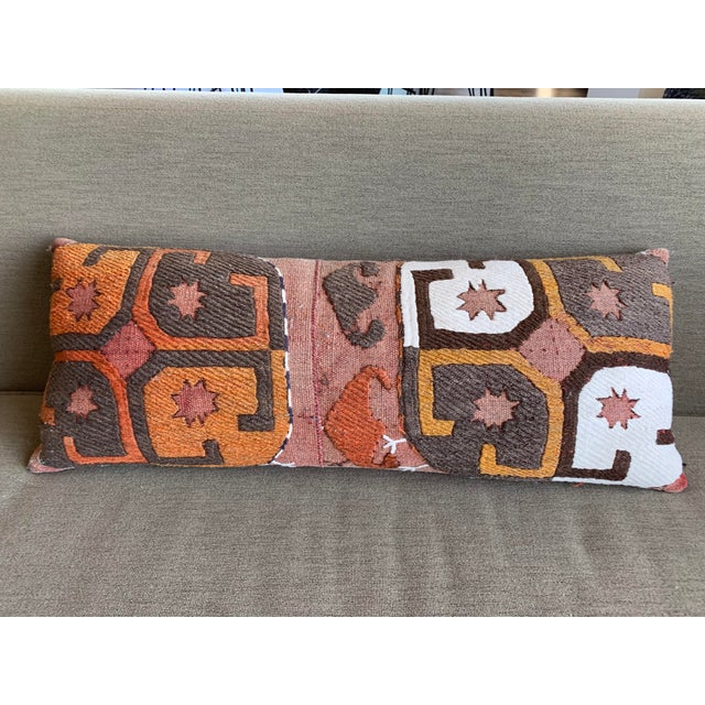 Abstract Oblong Pillow Cut From Handmade Antique Rug 3 Available For Sale - Image 3 of 10