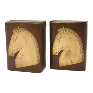 Vintage Brown and Gold Leather Horse Head Bookends - a Pair For Sale