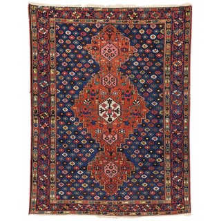 Antique Persian Bakhtiari Rug with Modern Style in Traditional Colors