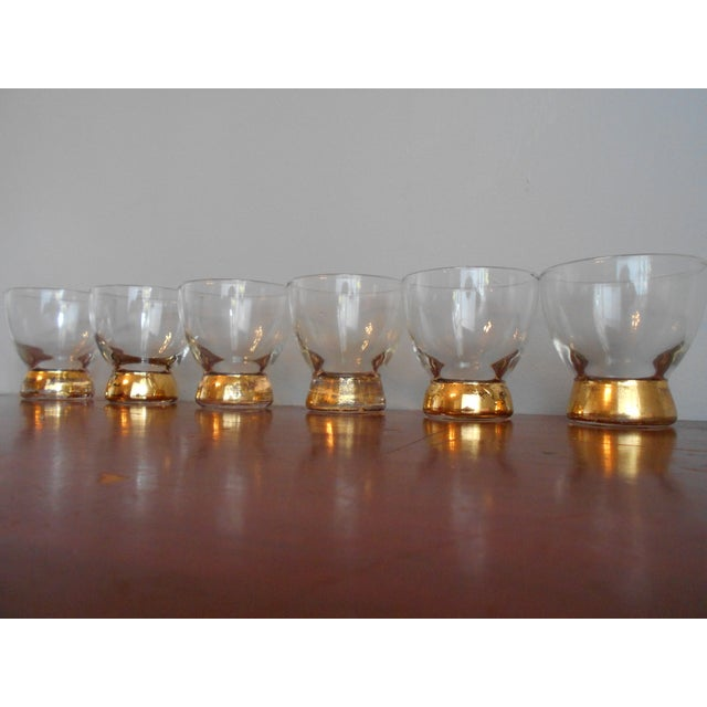 Gold Base Cocktail Glasses - Set of 6 For Sale - Image 5 of 5