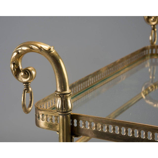 Brass French Brass and Glass Bar or Tea Trolley For Sale - Image 7 of 11