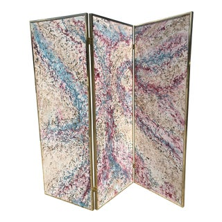 1980s Post Modern Abstract Expressionist Paint Splatter 3 Panel Canvas Painting Room Divider Screen For Sale