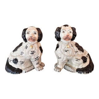 Antique Staffordshire Style Ceramic Spaniels - a Pair For Sale