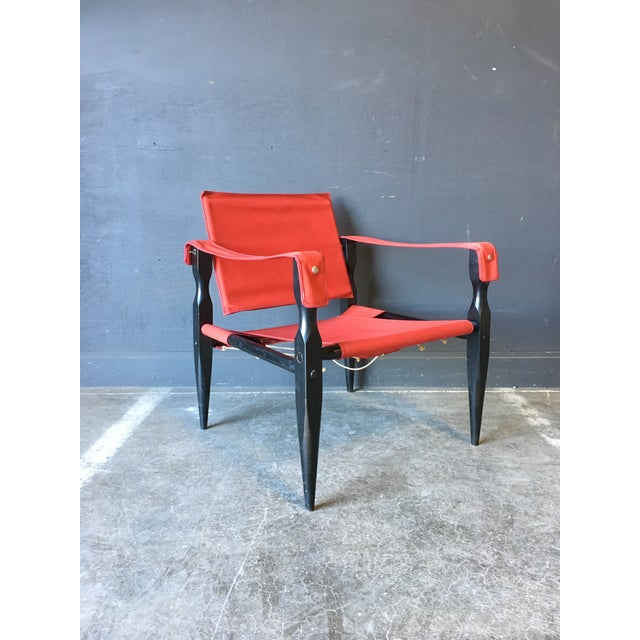 1980's Red Safari Chair For Sale - Image 11 of 11