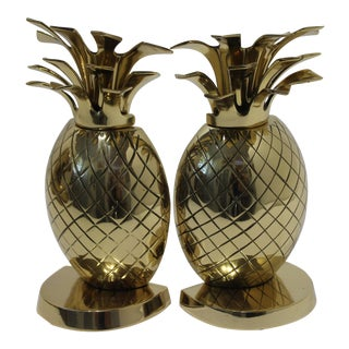 Vintage Newly Polished Brass Pineapple Bookends For Sale
