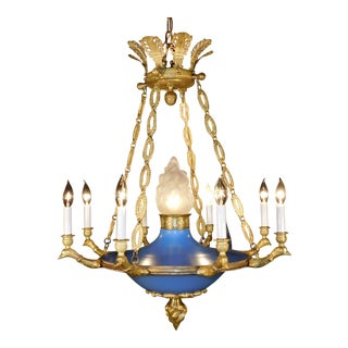 Antique Regency Empire Eagle Brass Dore Chandelier For Sale
