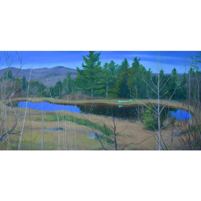 "Large ""Canoe, Pond, and Mountains in Vermont"" Painting by Stephen Remick For Sale - Image 13 of 13"