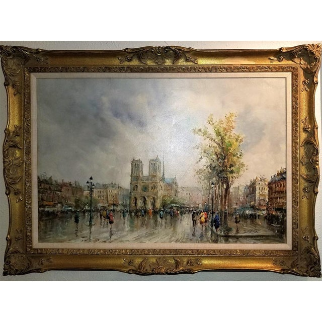 Paris Notre Dame Oil Painting on Canvas by Demone For Sale - Image 4 of 11