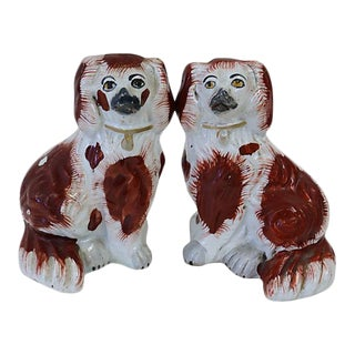 Small Antique Staffordshire King Charles Spaniels - A Pair