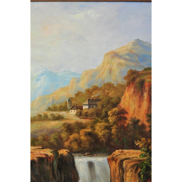 "19th C. Hudson River School ""Waterfall Landscape"" Oil Painting For Sale - Image 5 of 9"