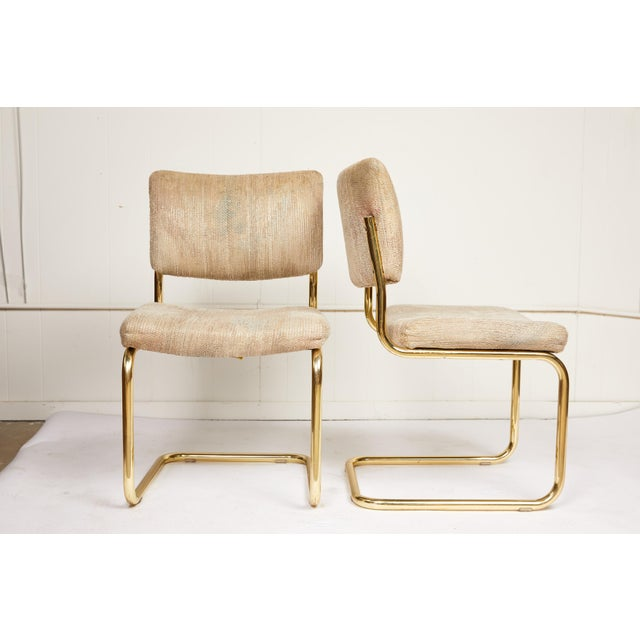 Mid 20th Century Pair of Brass Cantilever Chairs by Chromcraft For Sale - Image 5 of 6