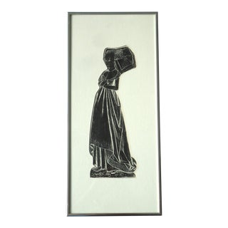 Modern Medieval Lady Tomb Rubbing Print For Sale