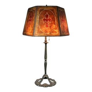 Arts And Crafts Bronze And Mica Shade Table Lamp For Sale