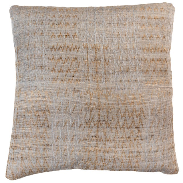Indian Handwoven Pillow Tree Pale Blue For Sale