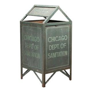 Antique City of Chicago Sanitation Trash Can For Sale
