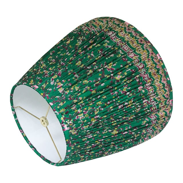 English Emerald Green Gathered Silk Lamp Shade, Made With a Vintage Sari For Sale - Image 3 of 4