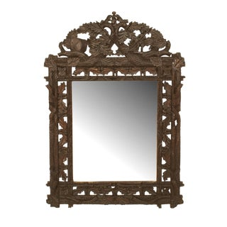Early 20th Century Black Forest Carved Walnut Wall Mirror For Sale