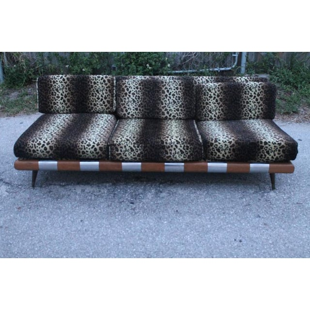 Craft Associates Adrian Pearsall for Craft Associates Chrome Walnut Wood Sofa Couch For Sale - Image 4 of 12