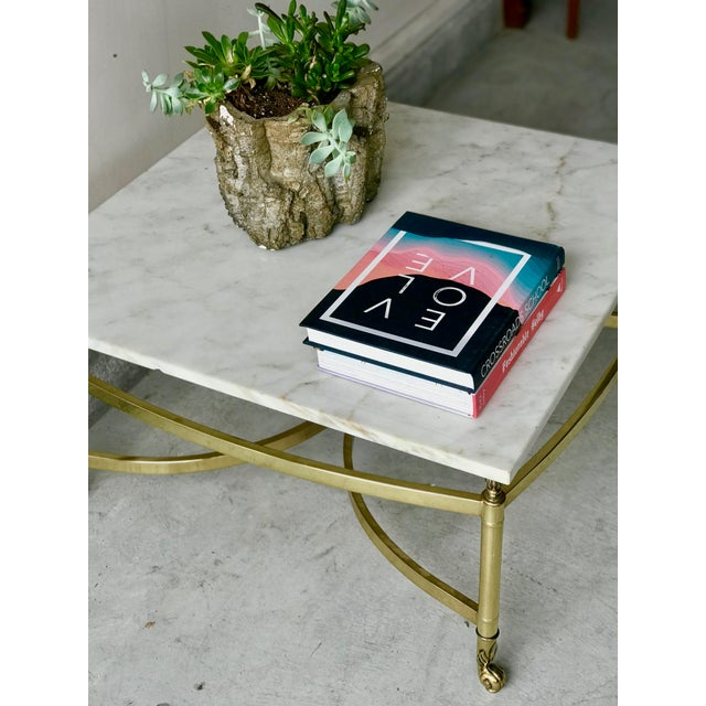 1970s 1970s Hollywood Regency Brass and Marble Coffee Table For Sale - Image 5 of 7