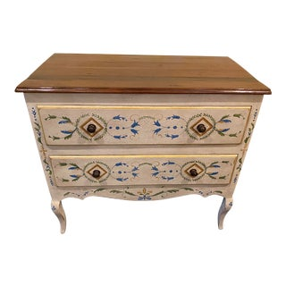 1950s Vintage French Country Hand Painted Lowboy For Sale