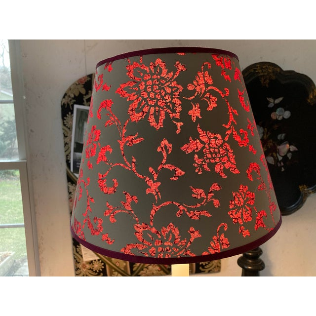 Traditional Brunschwig & Fils Floral Print Fabric Lampshade For Sale - Image 3 of 4