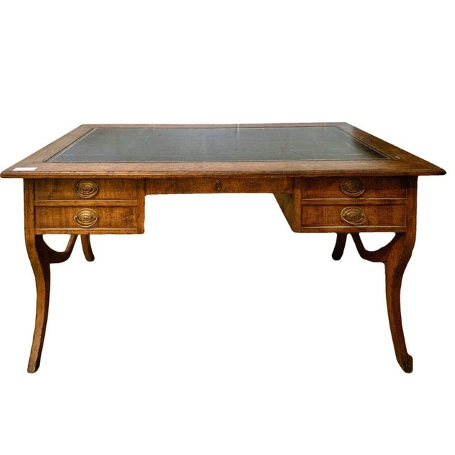 Late 20th Century English Traditional Leather Top Writing Desk For Sale - Image 10 of 10