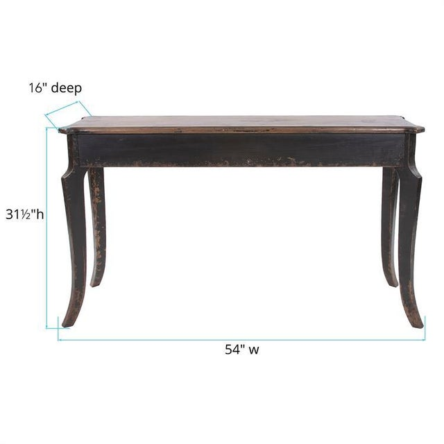 Wood Kenneth Ludwig Chicago Distressed Black Farm House Console Table For Sale - Image 7 of 8