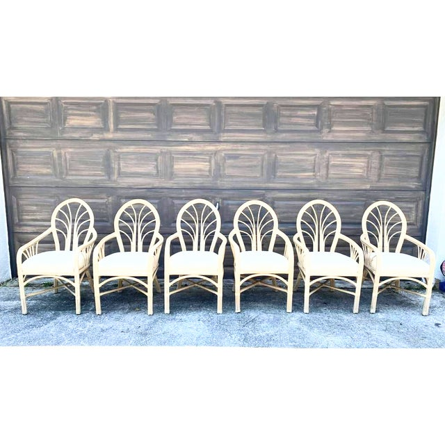 Vintage McGuire Style Natural Coastal Rattan Dining Arm Chairs Set of 6 For Sale - Image 10 of 10
