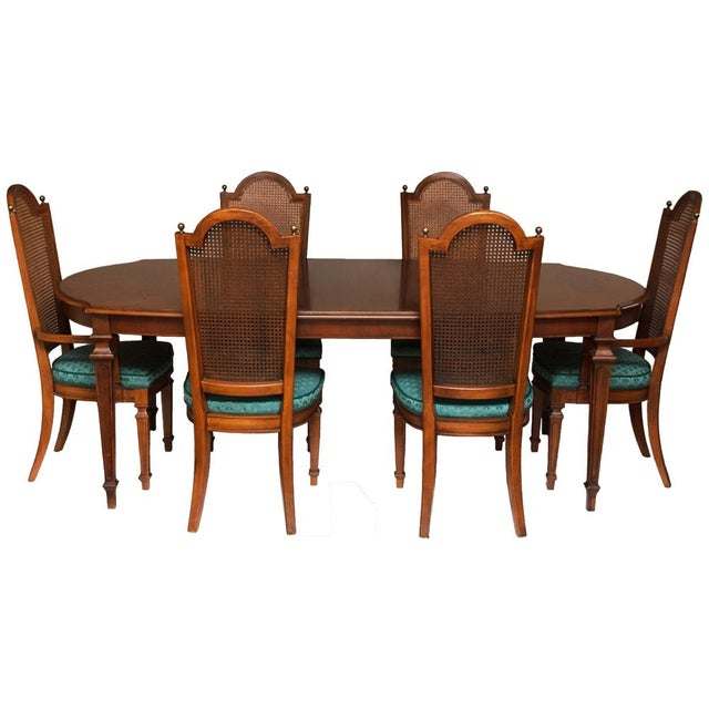 Elegant and pretty Vintage Hepplewhite Style Dining or Game Table and 6 Cane back Chairs Set by Thomasville. 2 of 6 Chairs...