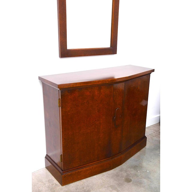 Mid-Century Modern Mid-Century Burlwood Console & Mirror Set For Sale - Image 3 of 10
