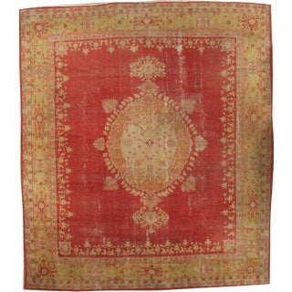 "Pasargad Ny Antique Turkish Oushak Hand-Knotted Rug - 11'10"" X 13'7"" For Sale"
