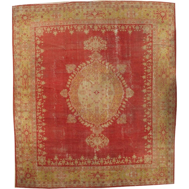 """Pasargad Ny Antique Turkish Oushak Hand-Knotted Rug - 11'10"""" X 13'7"""" For Sale"""