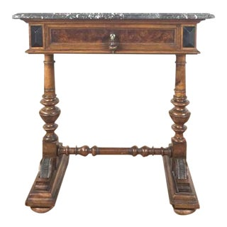 Louis XVI Style Carved Marble Top End Table