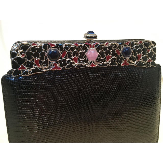 Early 21st Century Judith Leiber Black Lizard Floral Enamel Top Clutch For Sale - Image 5 of 9