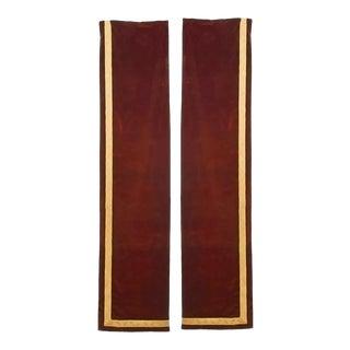 Maroon Velvet Metallic Thread Narrow Drapes - a Pair For Sale