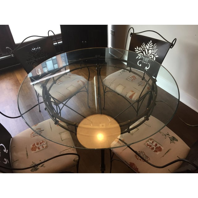Harden Wrought Iron Glass Top Dining Set - Image 6 of 8