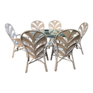 Tropical Palm Beach Pencil Reed Leaves Dining Table & 6 Arm Chairs For Sale