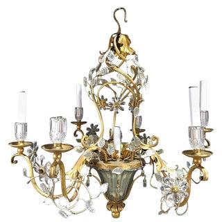 Maison Baguès Crystal Pagoda Seven-Light Chandelier For Sale