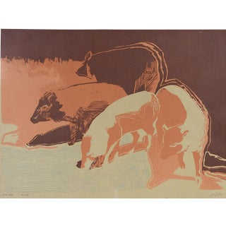 Javelina Abstract Pig Serigraph For Sale